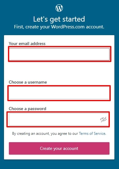 Wordpress account create