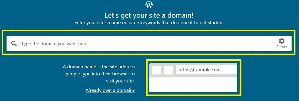 wordpress website domain name